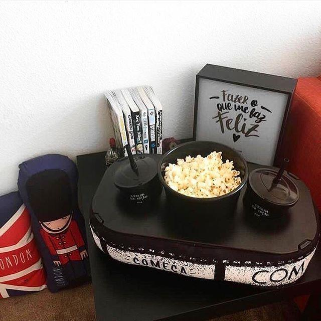 Almofada Porta Pipoca Cinema + Balde + 2 Copos