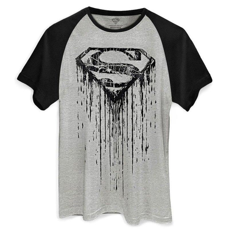 Camiseta Raglan Masculina Superman Steel Melting DC Oficial