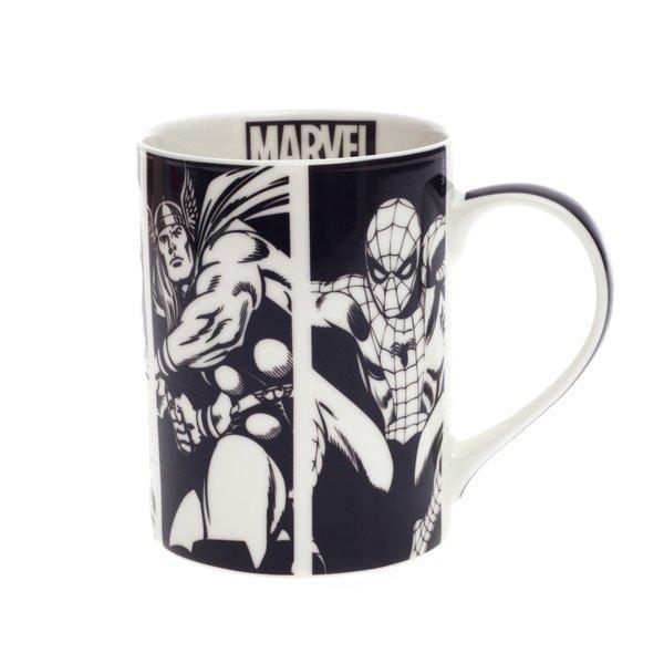 Caneca herois comics preta e branca porcelana