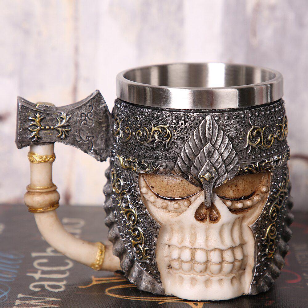 Caneca Viking Skull Caveira Guerreira