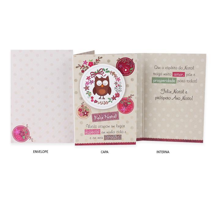 Cartão de Presente Especial Natal Corujinha Bege
