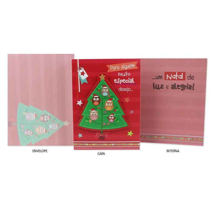 Cartão de Presente Natal Corujinhas