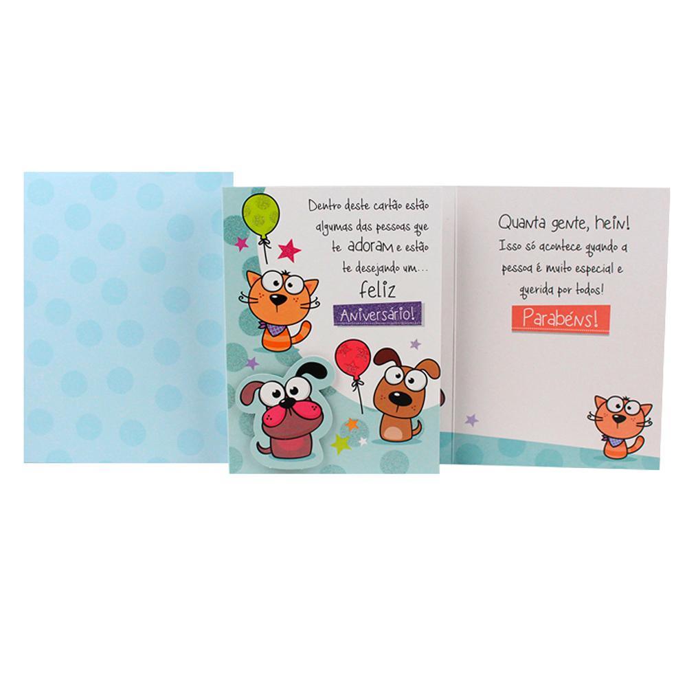 Cartão de Presente - Ocasião Aniversário - Cãozinho e Gato