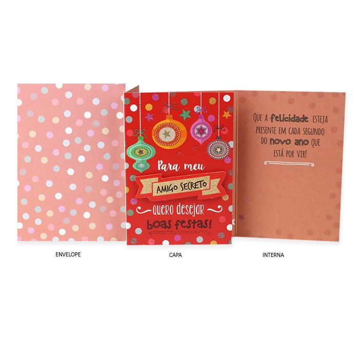 Cartão de Presente Ocasião Especial Natal Amigo Secreto