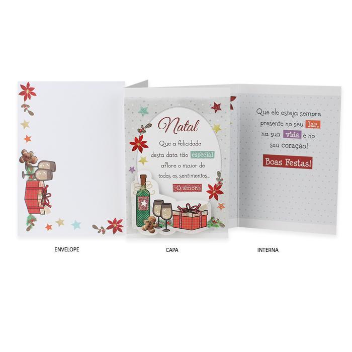 Cartão de Presente Ocasião Natal Taças e Presentes