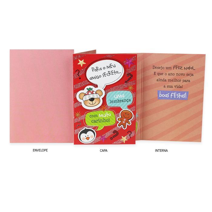 Cartão Presente Ocasião Natal Amigo Secreto Urso e Pinguim