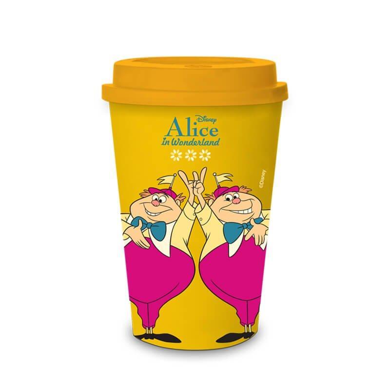 Copo com Tampa de Plastico Gemeos Alice no Pais das Maravilhas
