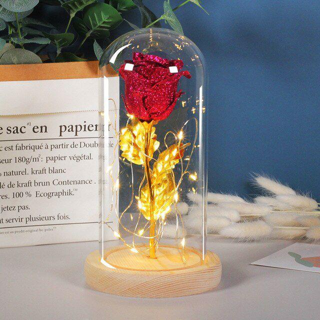 Cúpula Rosa Da Bela E A Fera Com Fio De Led Caule Dourado