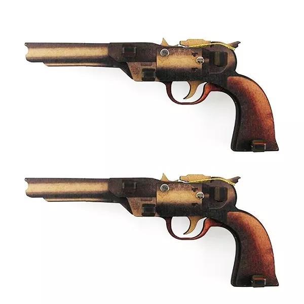 Kit 2 Arminhas Pistolas De Elástico Montável Faroeste
