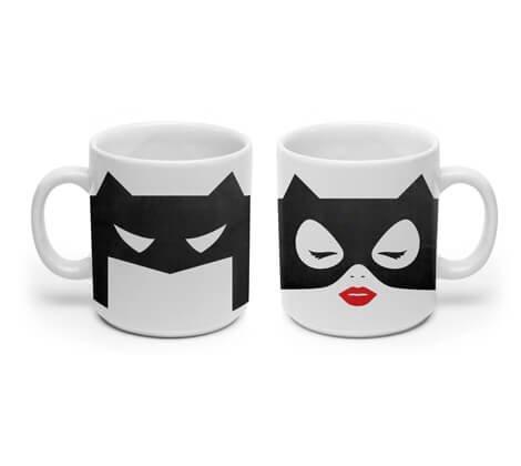 Kit 2 Canecas Batman e Mulher Gato