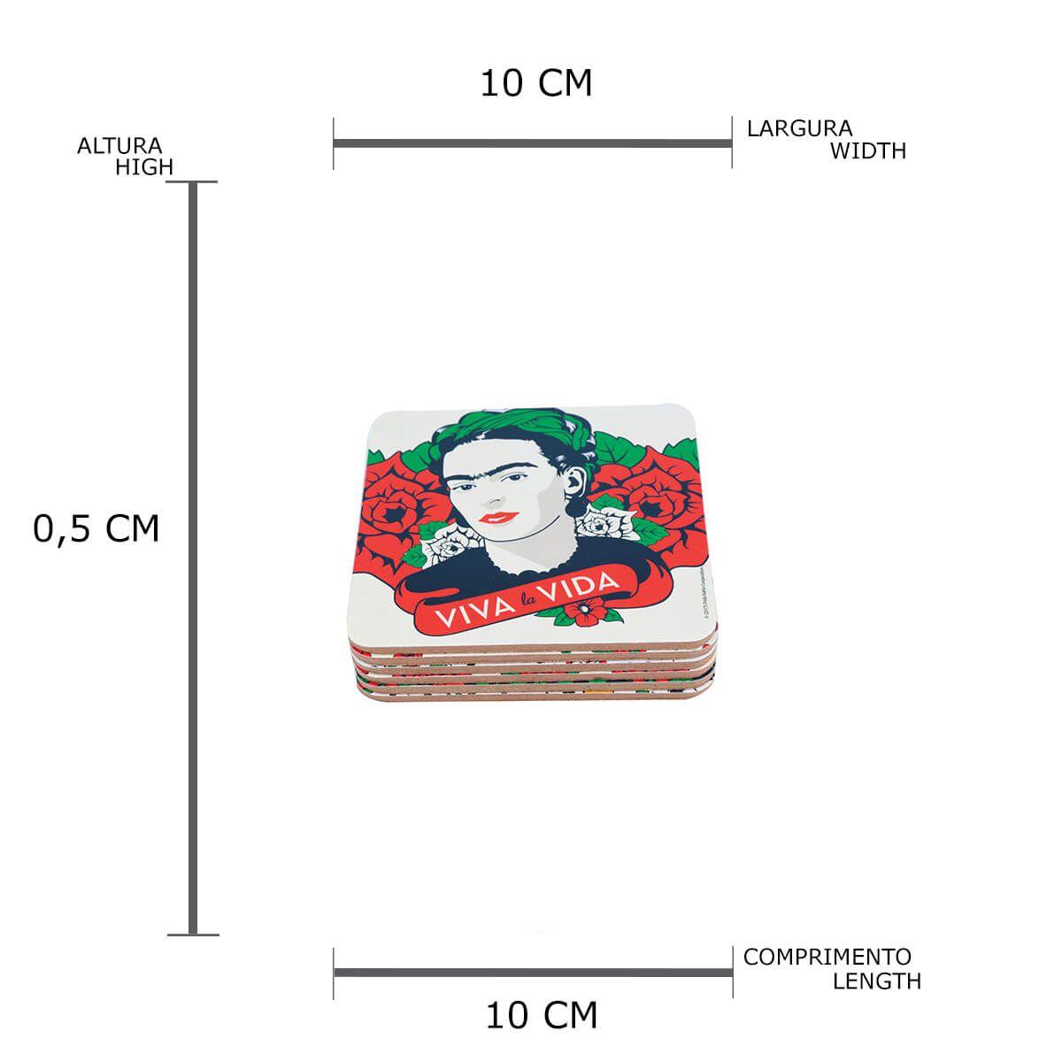 kit 6 Porta Copos Oficial Frida Kahlo em Cortiça