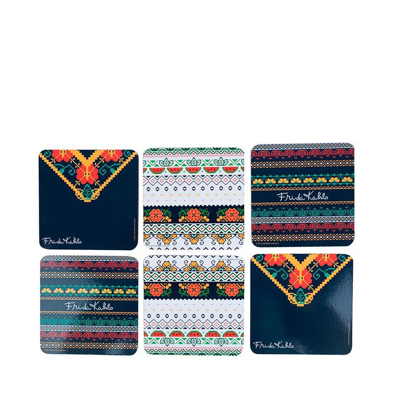 kit 6 Porta Copos Oficial Frida Kahlo Pixel Embroidery