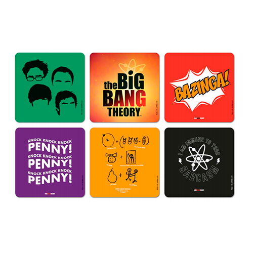 kit 6 Porta Copos Oficial The Big Bang Theory em Cortiça