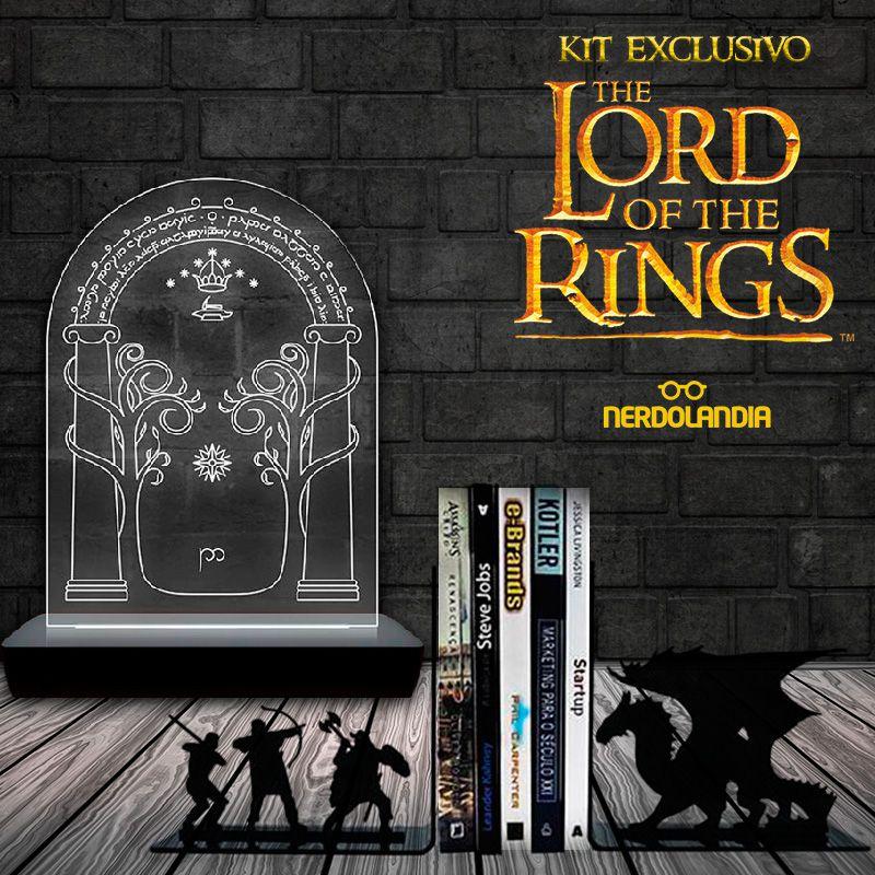 Kit Aparador de Livros Dragão Terra Média + Luminária Speak Friend And Enter