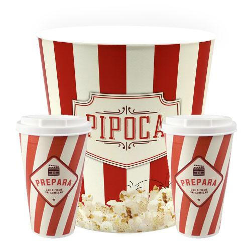 Kit Balde de Pipoca E Copos Cinema Classico