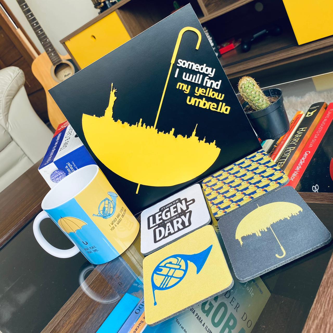 Kit How I Met Your Mother Placa Alto Relevo + Caneca + Kit de Porta Copos