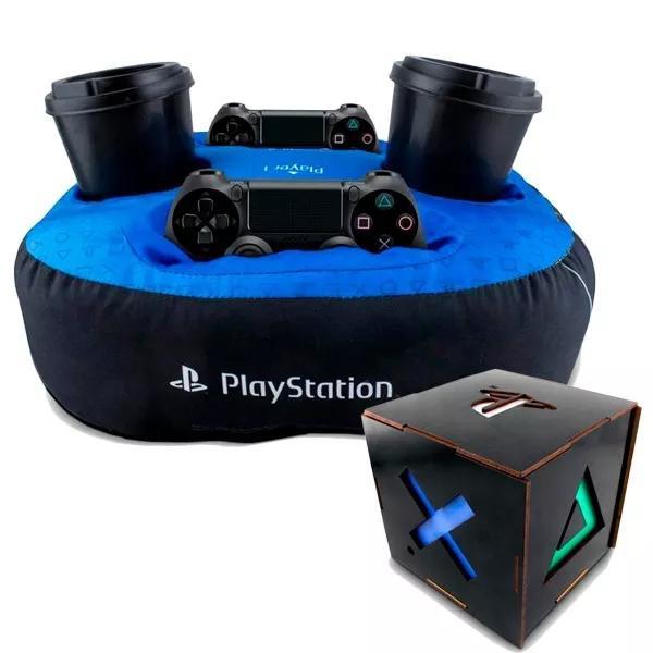Kit Presente Playstation Almofada Porta Controle + Luminária