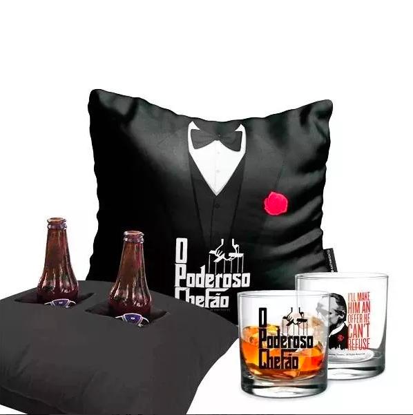 Kit Porta Cerveja Poderoso Chefão Almofada + Copo De Whisky Presente