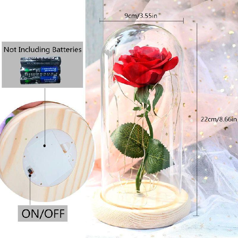 Luminária Cúpula Rosa Da Bela E A Fera Com Fio De Led