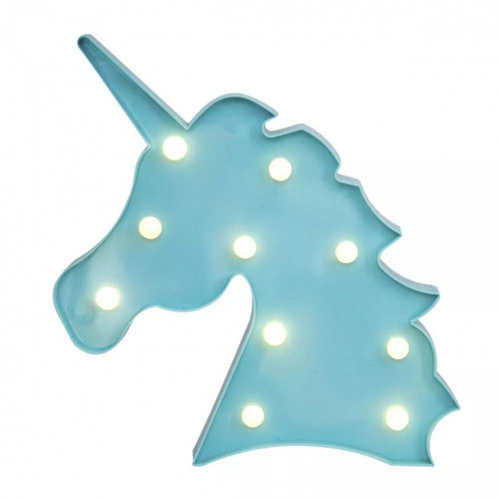 Luminária LED Unicórnio Azul