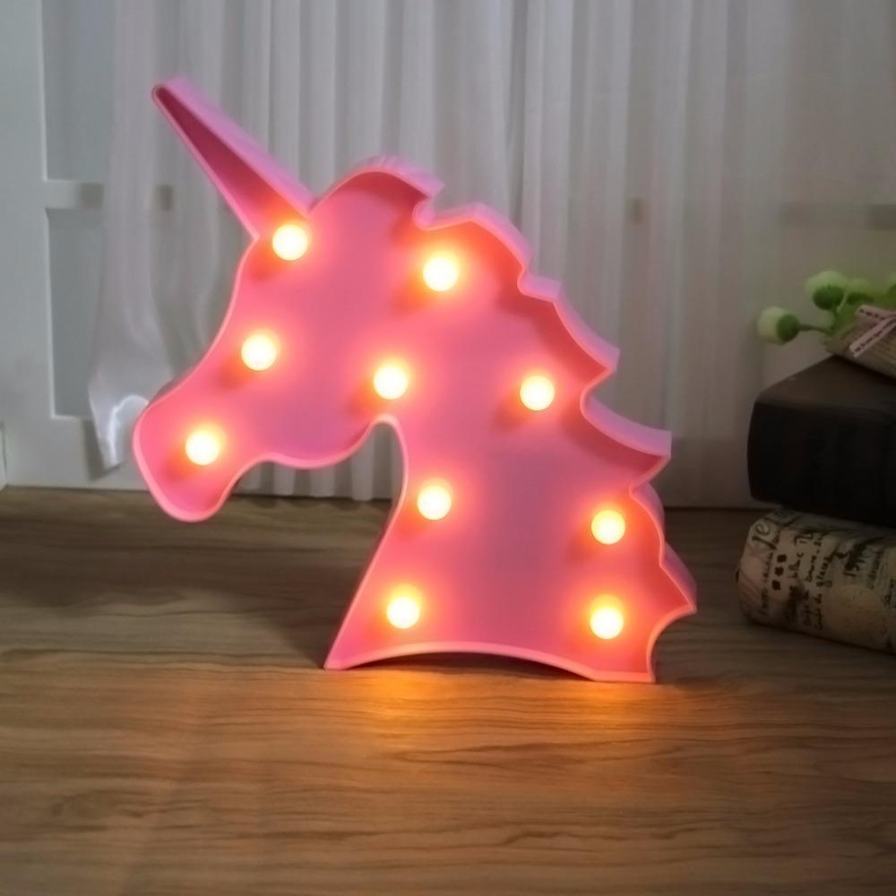 Luminária LED Unicórnio Rosa