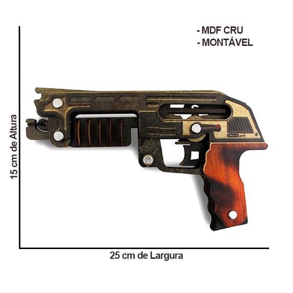 Arma Arminha Pistola de Elástico em MDF