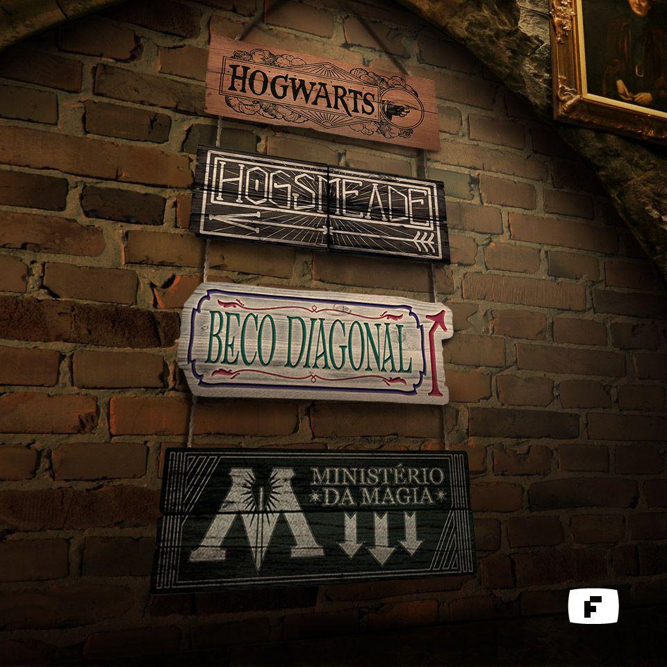 Placa Decorativa Lugares Magicos Setas Direçoes MDF