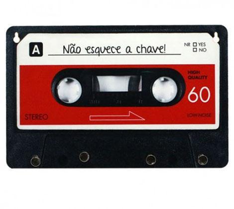 Porta Chave Retrô Fita Cassete Vermelha