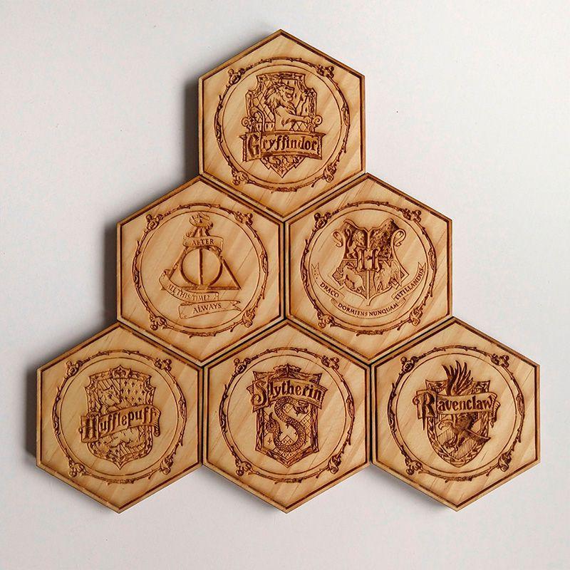 Porta Copos Hexagonal Harry Potter Madeira Cerveja 6 Pçs