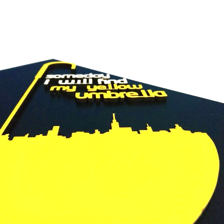 Quadro Guarda Chuva Amarelo HIMYM Alto Relevo