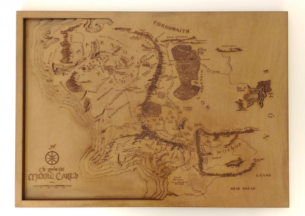 Quadro Senhor dos Anéis Mapa Terra Média Artesanal