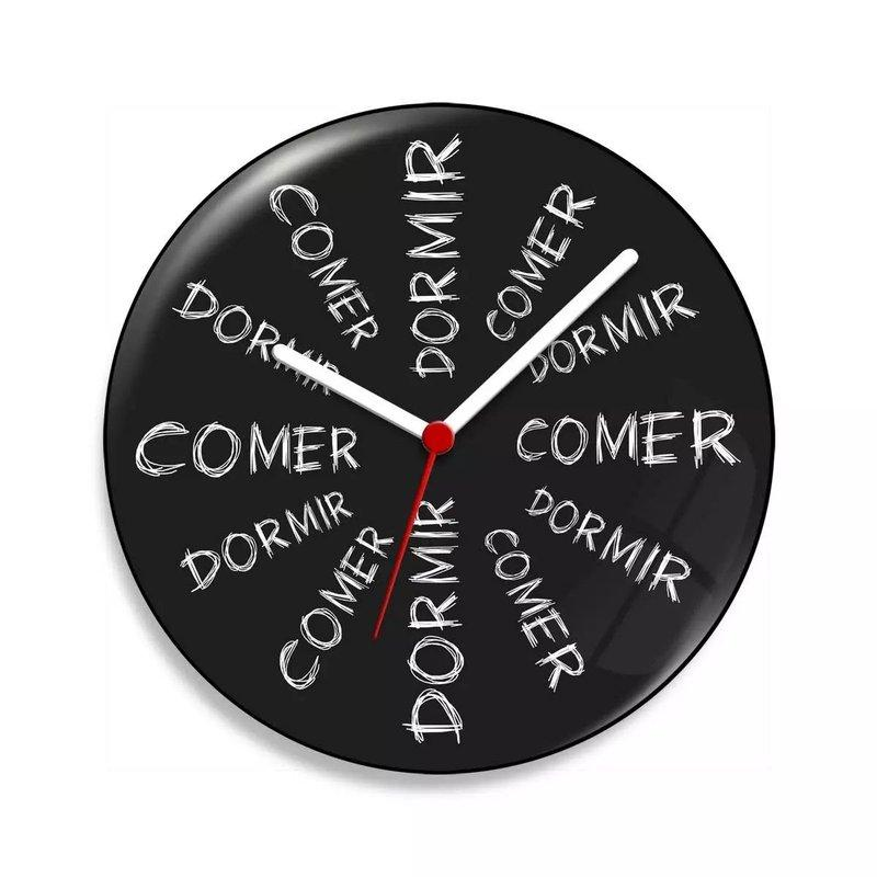 Relógio de Parede Comer dá Sono Dormir dá Fome - 20 cm