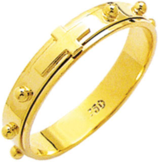 anel terço em ouro 18k