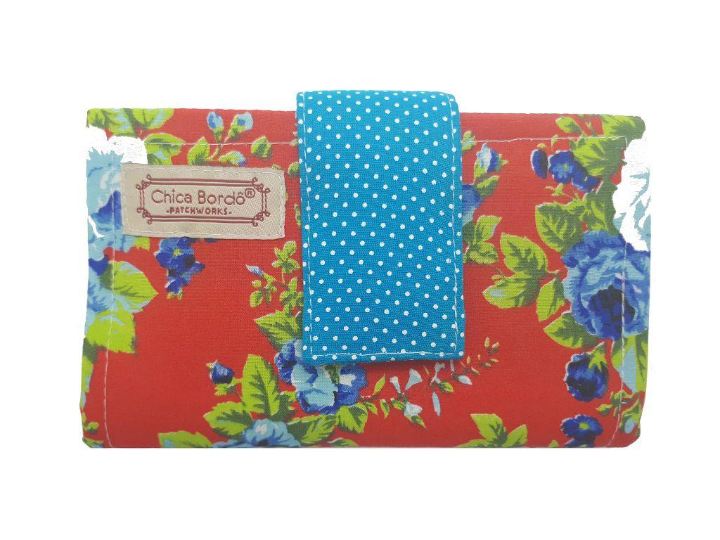 Carteira Feminina Pequena Floral Chica Bordô 5713