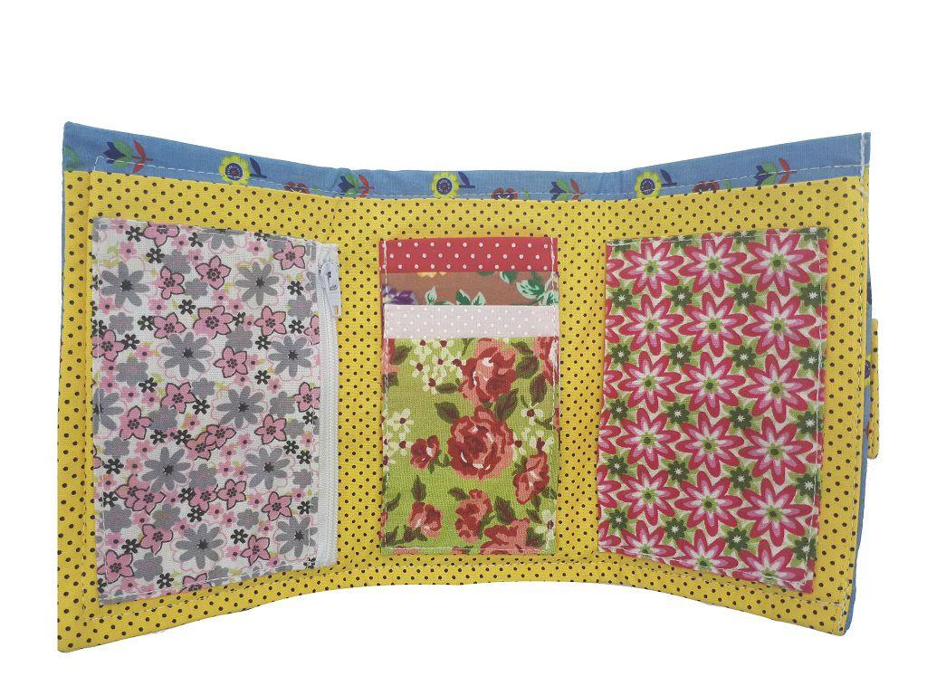 Carteira Feminina Pequena Floral Chica Bordô 6304