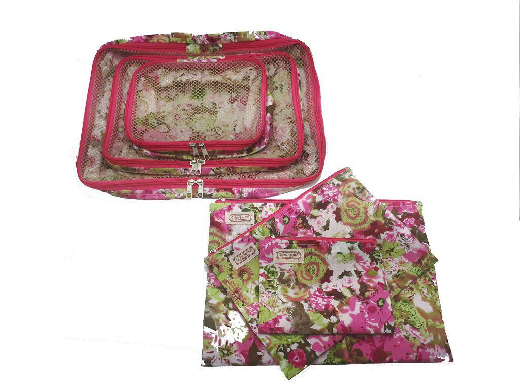 Kit Organizador de Mala Floral Chica Bordô 26
