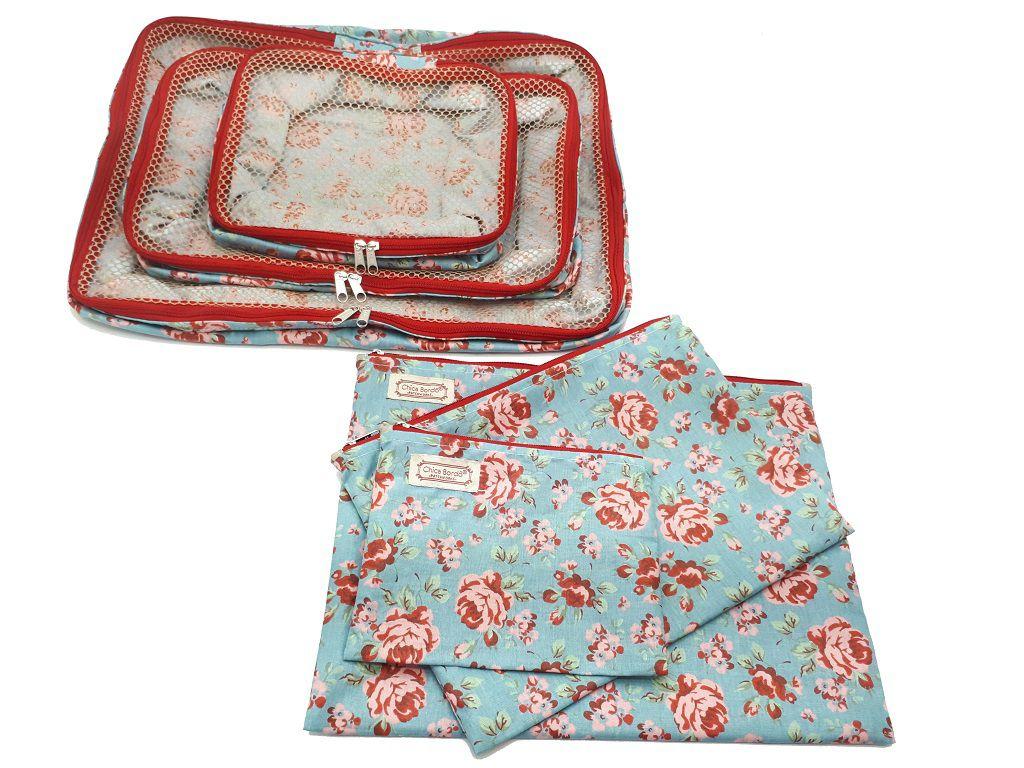 Kit Organizador de Mala Floral Chica Bordô 75