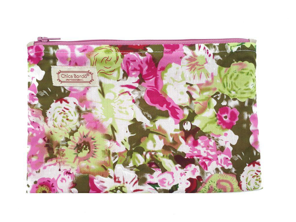 Necessaire Pequeno Floral Chica Bordô 26