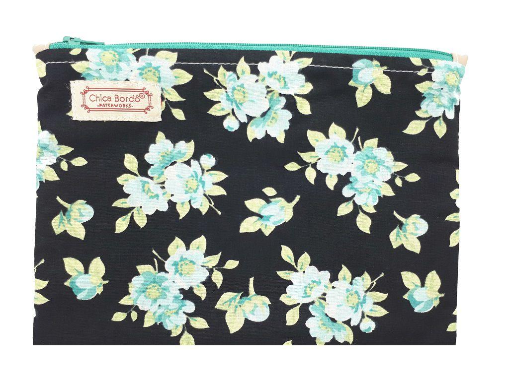Necessaire Pequeno Floral Chica Bordô 71