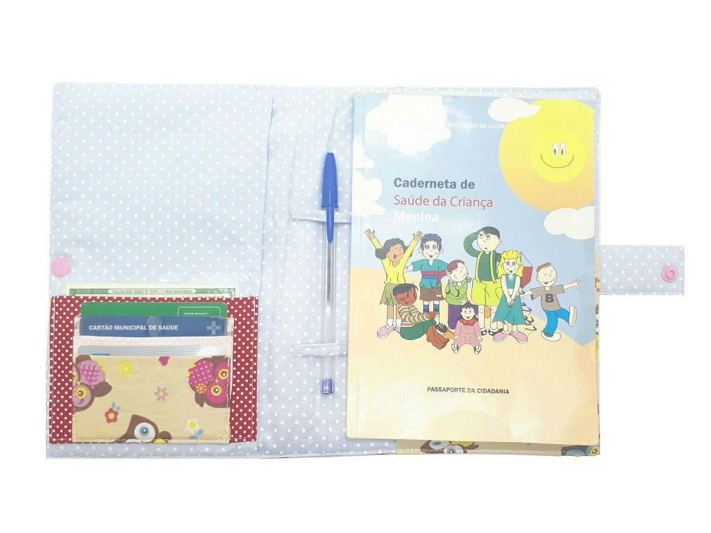 Porta Cartão de Vacinas Corujinhas Chica Bordô 0707