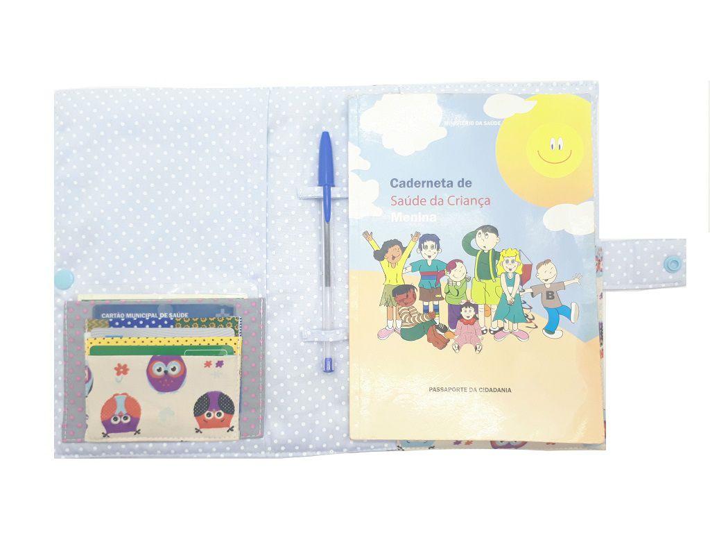 Porta Cartão de Vacinas Corujinhas Chica Bordô 0907