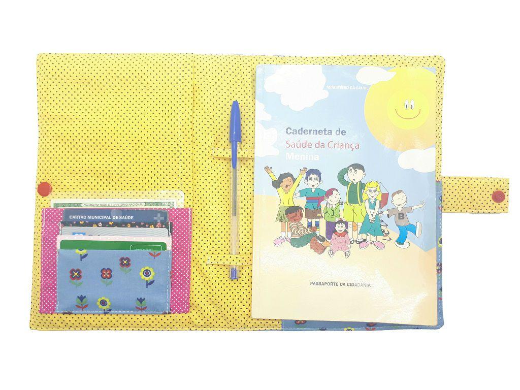 Porta Cartão de Vacinas Floral Chica Bordô