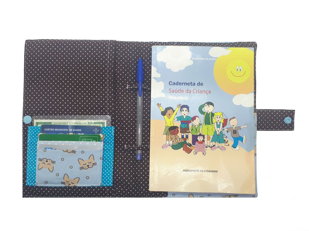 Porta Cartão de Vacinas Gatinhos Chica Bordô
