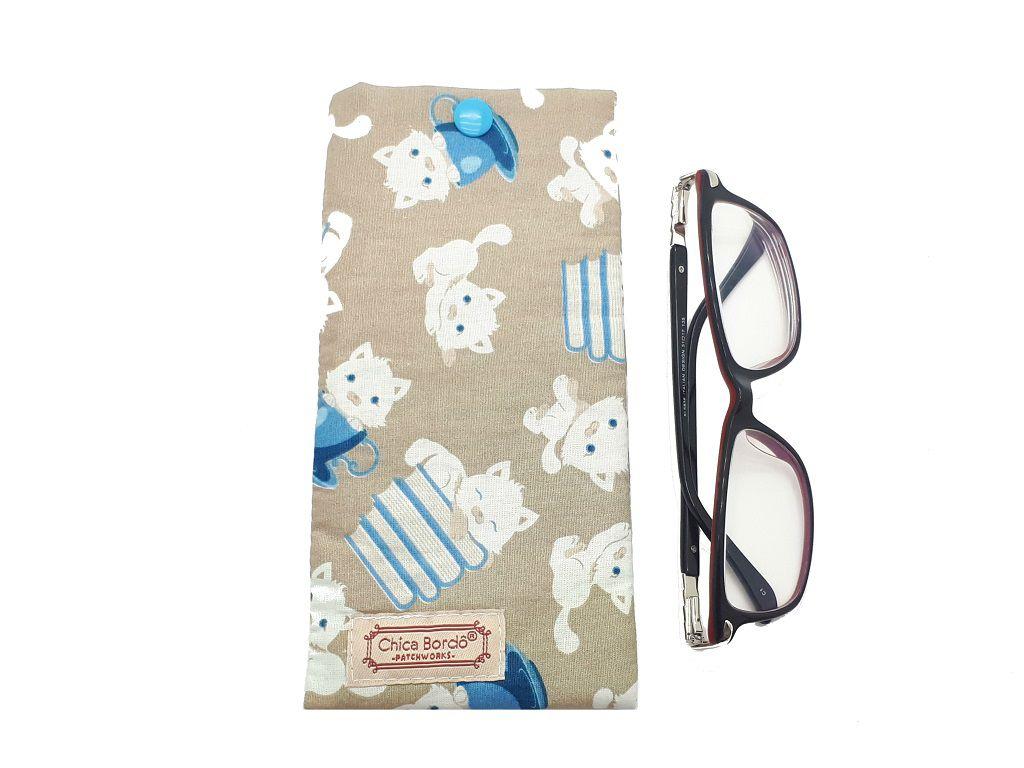 Porta Óculos Gatinhos Chica Bordô 05