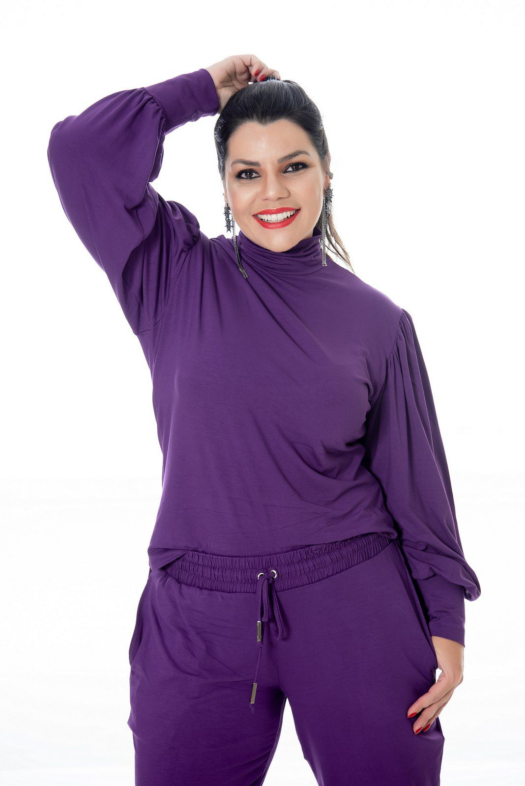 CACHARREL PLUS SIZE MANGA BUFANTE ROXA