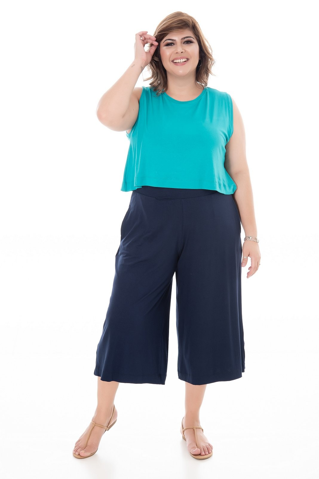 REGATA PLUS SIZE CROPPED JADE