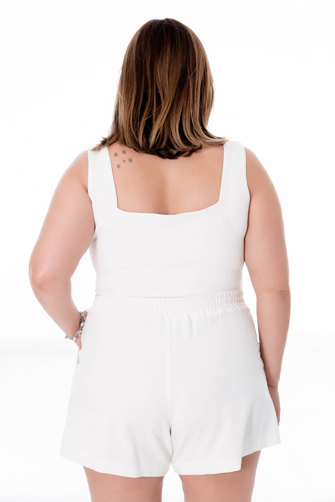 TOP CROPPED PLUS SIZE OFF WHITE
