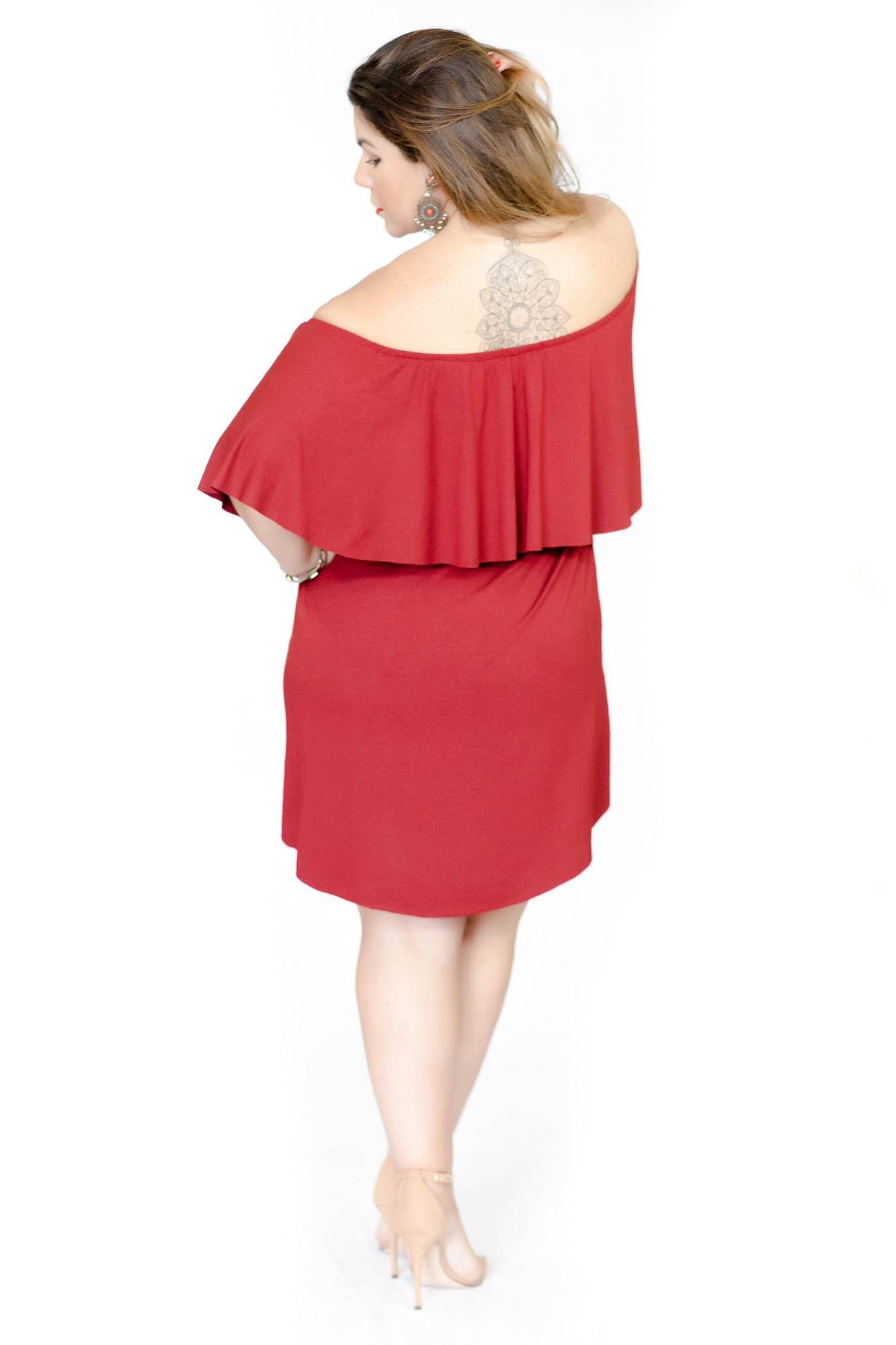 Vestido curto ombro a ombro vermelho PLUS SIZE