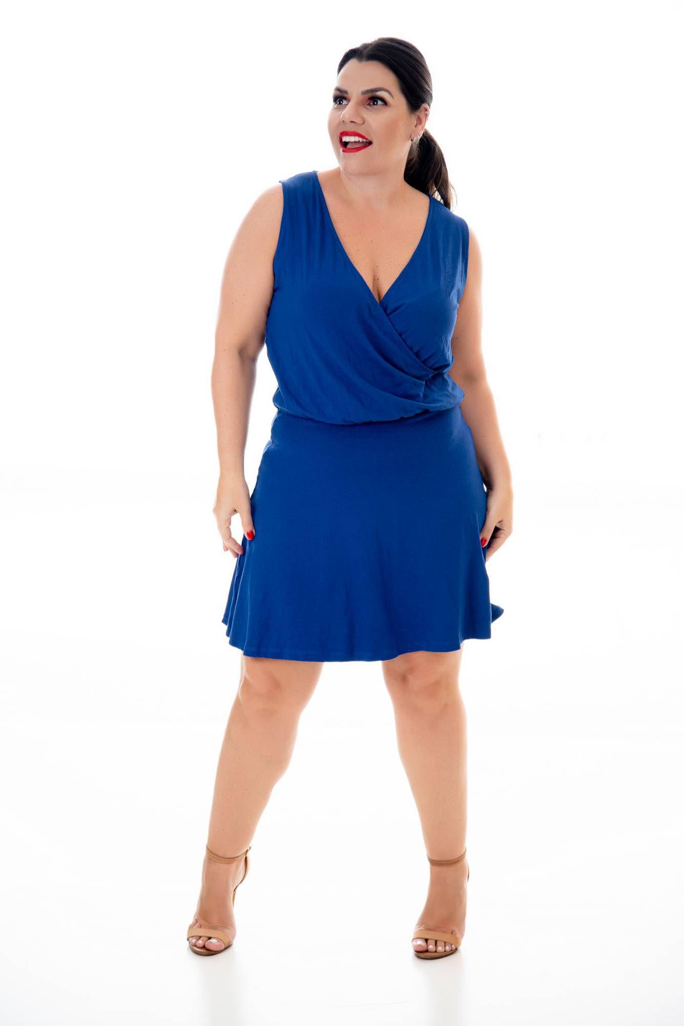 Vestido curto regata Azul Royal