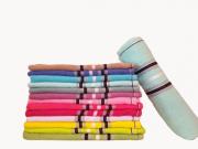 Toalha de banho de algodão com listras - Várias cores